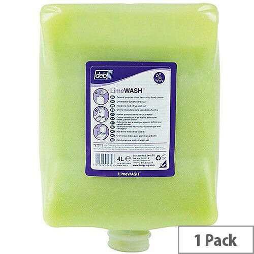 Deb Solopol Lime Hand Wash 4 Litre Cartridge (Pack 1) LIM4LTR