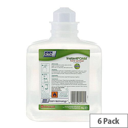 Deb Instant Foam Sanitiser 1 Litre Refills Cartridges Pack 6