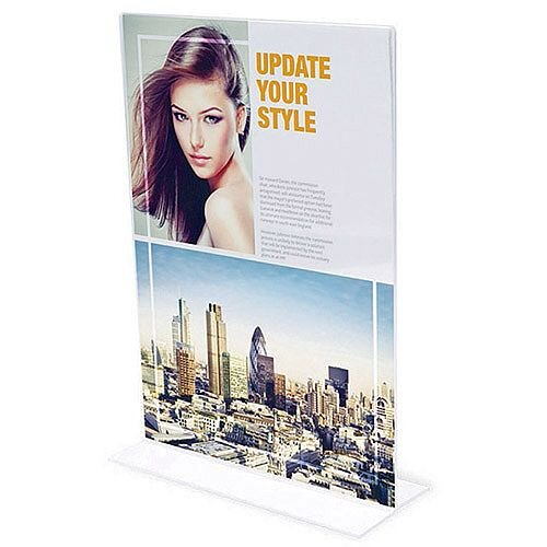 A6 Table Sign Holder Portrait Double Sided Deflecto