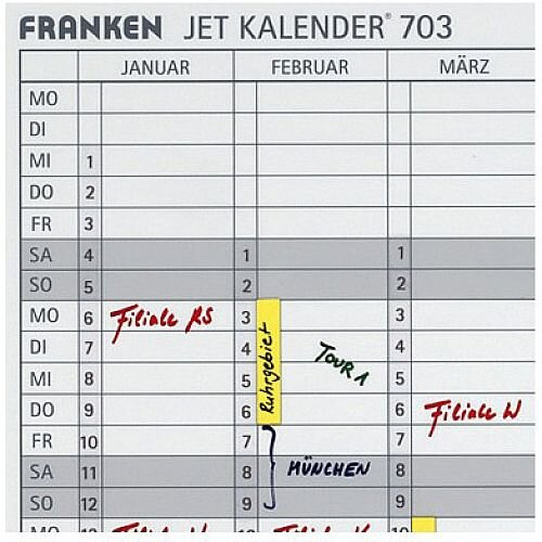 Franken Date Strips W140 x H420mm for Magnetic Annual Planner