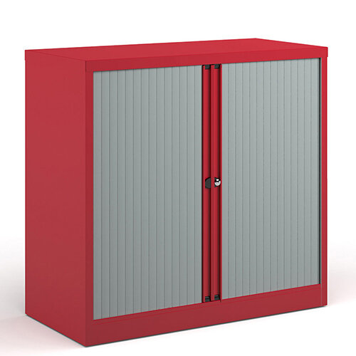 Bisley Systems Storage Low Tambour Cupboard 1000mm High - Red