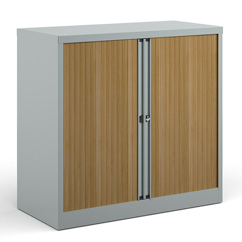 Bisley Systems Storage Low Tambour Cupboard 1000mm High - Silver With Beech Doors