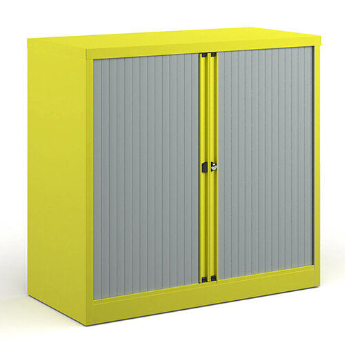 Bisley Systems Storage Low Tambour Cupboard 1000mm High - Yellow