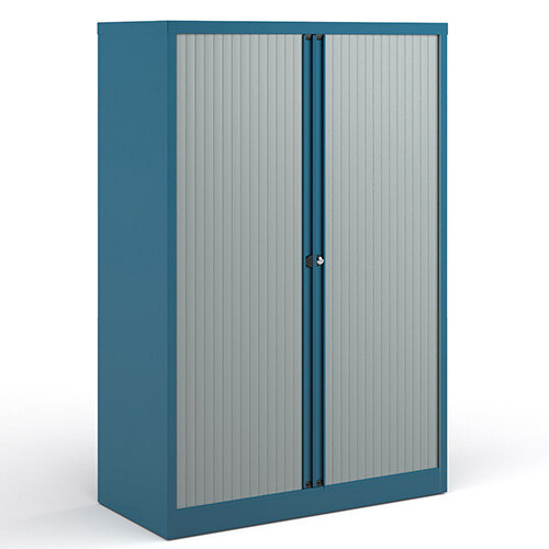 Bisley Systems Storage Medium Tambour Cupboard 1570mm High - Blue