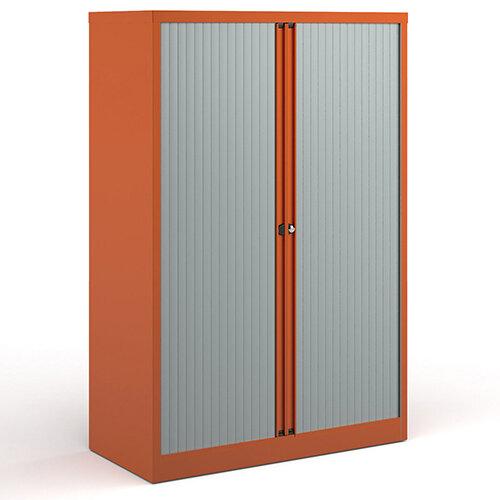Bisley Systems Storage Medium Tambour Cupboard 1570mm High - Orange