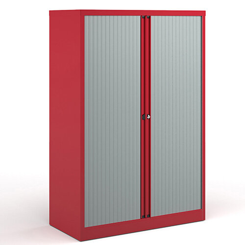 Bisley Systems Storage Medium Tambour Cupboard 1570mm High - Red