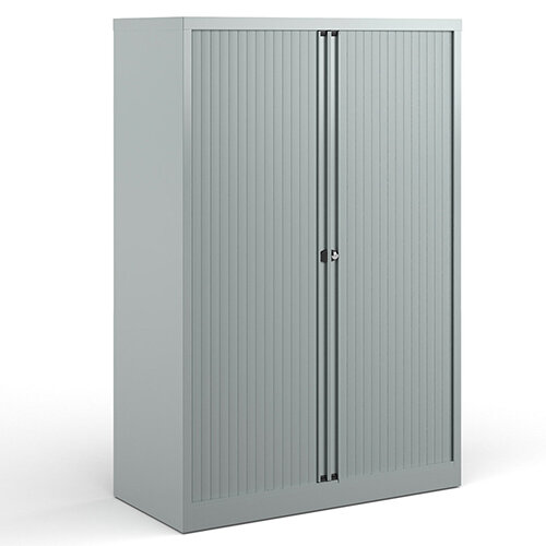 Bisley Systems Storage Medium Tambour Cupboard 1570mm High - Silver