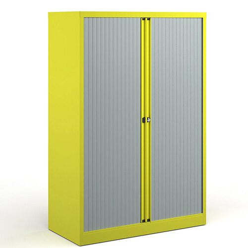 Bisley Systems Storage Medium Tambour Cupboard 1570mm High - Yellow
