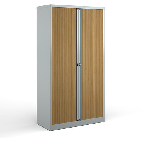 Bisley Systems Storage High Tambour Cupboard 1970mm High - Silver With Beech Doors
