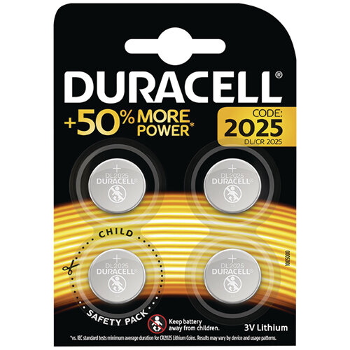 Duracell 2025 Lithium Coin Battery Pack of 4 ECR2035