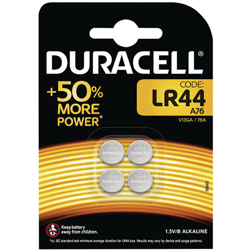 Duracell LR44 Alkaline Button Batteries Pack of 4 A76/4