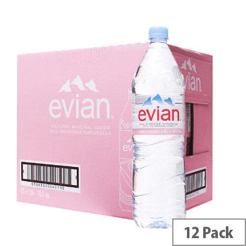 ab72a5bb21 Evian Natural Mineral Still Bottled Water 1.5 Litre Bottle Pack 12 -  Huntoffice.ie