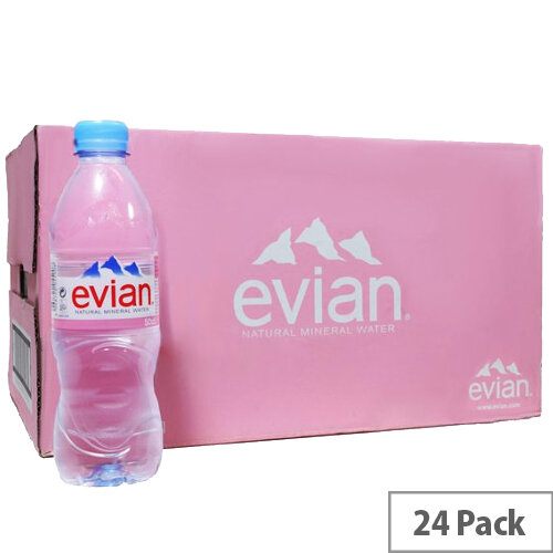 Evian Natural Mineral Still Water, Low Sodium, Provides Excellent Hydration, Suitable for Mothers & Babies, Recyclable 500ml Bottle, Pack of 24