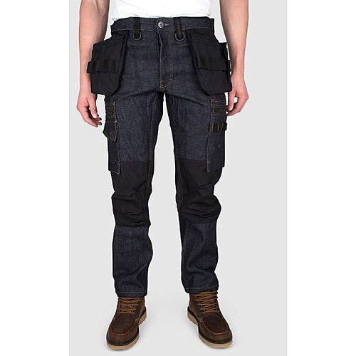 Snickers P12 Holster Pockets Trousers Denim Raw Size W36L34 DW1