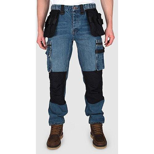 Snickers P12 Holster Pockets Trousers Denim Stonewash Size W36L34 DW1