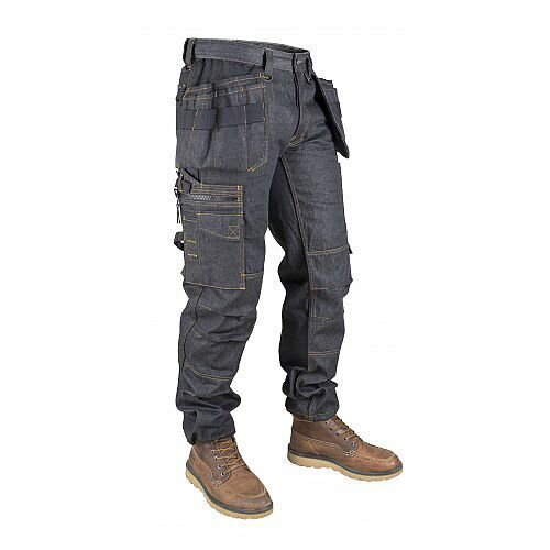 Snickers P15 Holster Pockets Denim Trousers Black Size W36L34 DW1