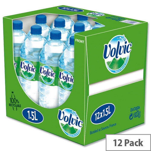 Volvic Natural Mineral Water, 1.5 Litre Bottle of Still Water, Refreshing Unique &Delicate Taste, Recyclable Bottle, Pack of 12