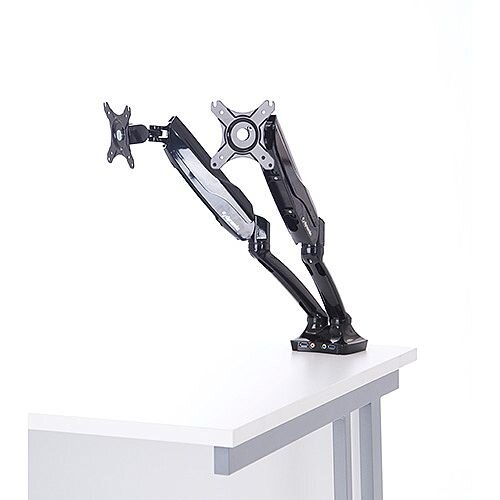 "Easy Adjust Dual Monitor Arm in Black VESA Mount Compatible for 10"" to 27"" Screen"