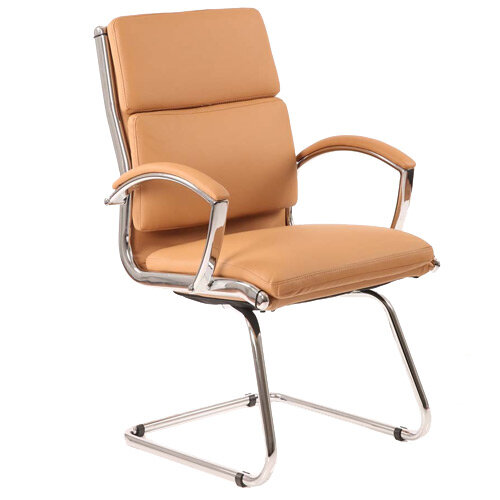 Classic Boardroom &Visitor Cantilever Chair Tan With Arms