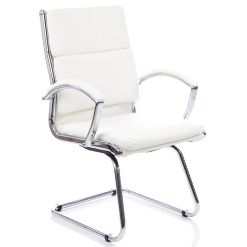 Classic Boardroom &Visitor Cantilever Chair White With Arms