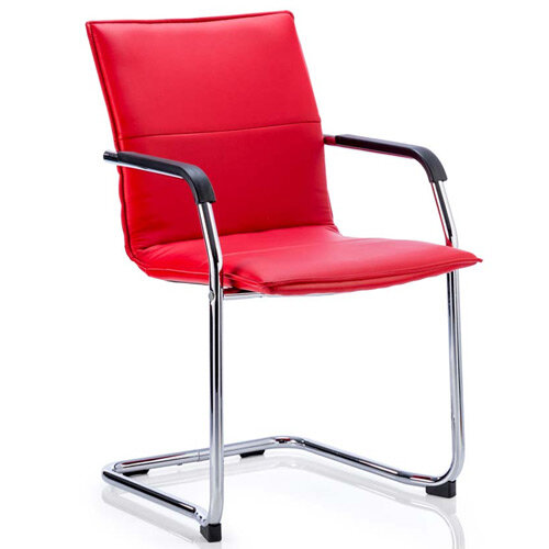 Echo Boardroom &Visitor Cantilever Chair Red Bonded Leather With Arms