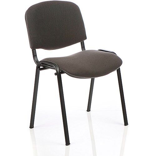 ISO Stacking Chair Charcoal Fabric Black Frame