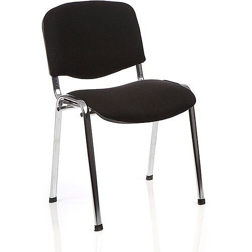 ISO Stacking Chair Black Fabric Chrome Frame