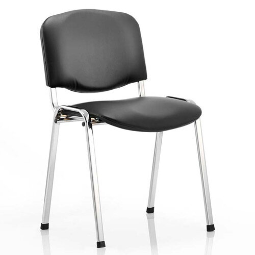 ISO Stacking Chair Black Vinyl Chrome Frame