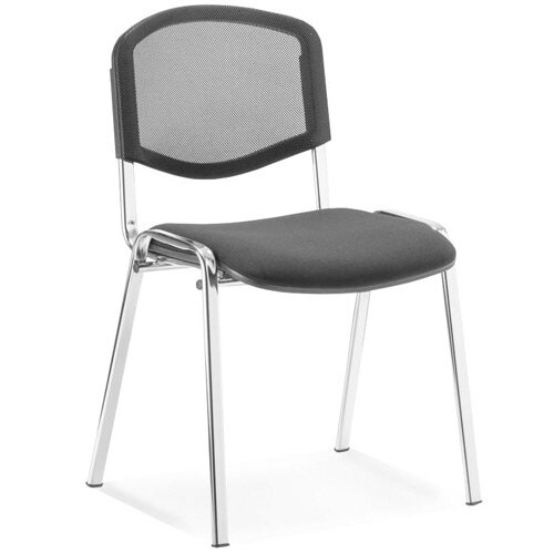 ISO Stacking Chair Black Mesh Chrome Frame