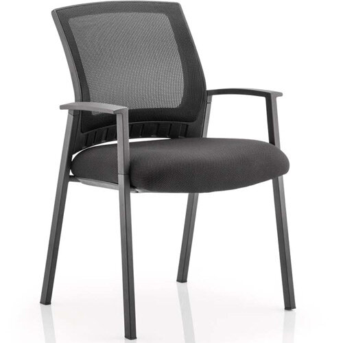 Metro Boardroom &Visitor Chair Black Fabric Black Mesh Back With Arms