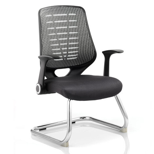 Relay Cantilever Boardroom &Visitor Chair Airmesh Seat Silver Back With Arms
