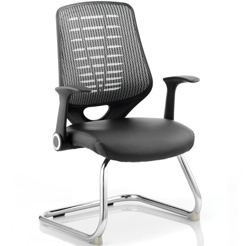 Relay Cantilever Boardroom &Visitor Chair Leather Seat Silver Back With Arms