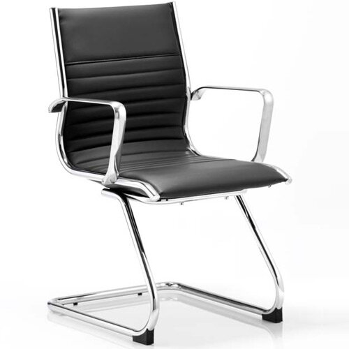 Ritz Boardroom &Visitor Cantilever Chair Black Bonded Leather With Arms