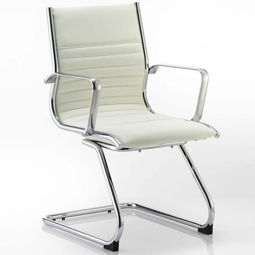 Ritz Boardroom &Visitor Cantilever Chair Ivory Bonded Leather With Arms