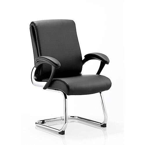 Romeo Boardroom &Visitor Cantilever Chair Black Leather With Arms