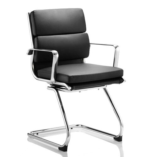 Savoy Boardroom &Visitor Cantilever Chair Black Bonded Leather With Arms