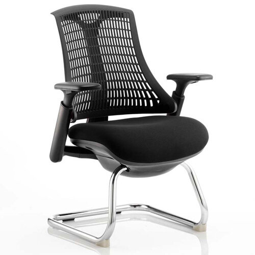 Flex Boardroom &Visitor Cantilever Chair Black Frame Black Fabric Seat With Black Back With Arms