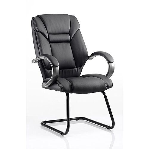 Galloway Boardroom &Visitor Cantilever Chair Black Leather With Arms