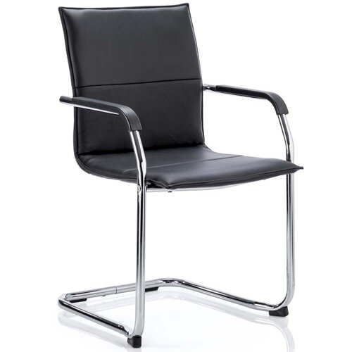 Echo Boardroom &Visitor Cantilever Chair Black Bonded Leather With Arms
