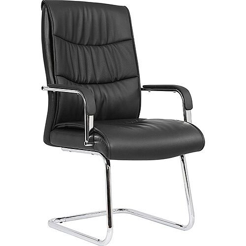 Carter Black Luxury Faux Leather Cantilever Boardroom &Visitor Chair With Arms