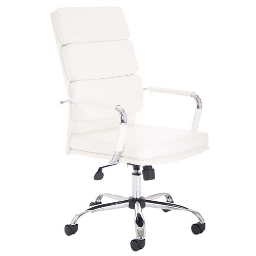 Advocate Executive Office Chair White Bonded Leather With Arms