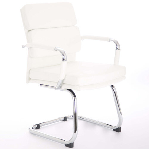 Advocate Boardroom &Visitor Chair White Bonded Leather With Arms