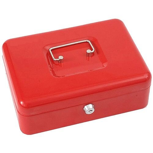 Phoenix Red Cash Tray – 6 Coin Compartment, 1 Note Compartment, 2 Keys, Steel, Removable Organiser Tray, Carry Handle, 1-Year Warranty &ront-Mounted Key Lock (CB0102K)