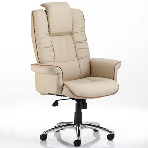 Chelsea Executive High Back Office Chair Cream Bonded Leather With Arms