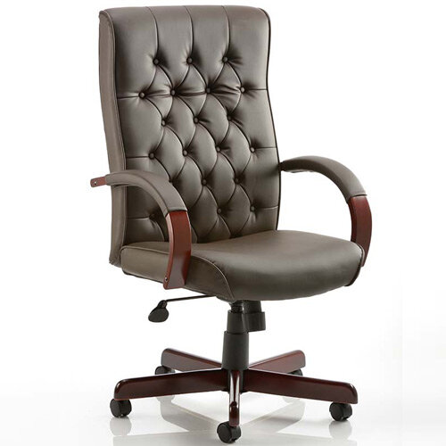 Chesterfield Executive Office Chair Brown Leather With Arms