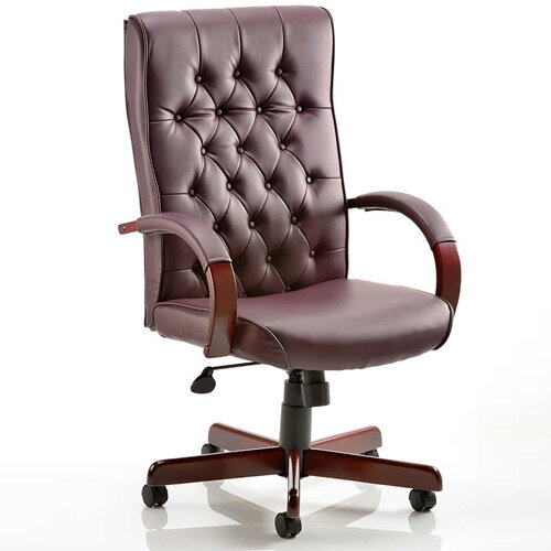 Chesterfield Executive Office Chair Burgundy Leather With Arms
