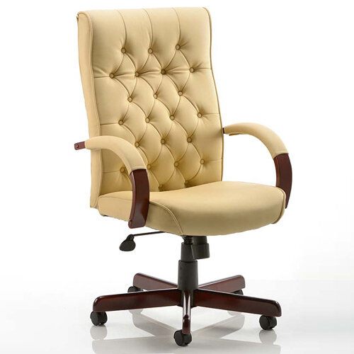 Chesterfield Executive Office Chair Cream Leather With Arms