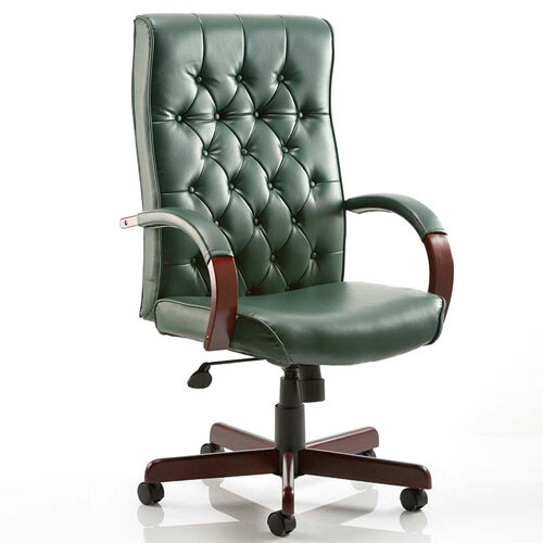 Chesterfield Executive Office Chair in Green Leather With Padded Arms, Traditional Look With 5 Star Castor Base, Deep Cushioning For Comfort