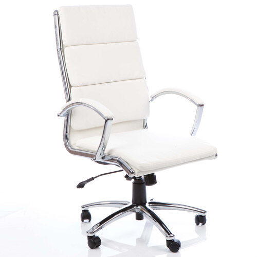 Classic Executive Office Chair White With Arms High Back