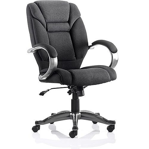Galloway Executive Office Chair Black Fabric With Arms